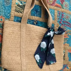 Draper James Straw Bag with Floral Scarf